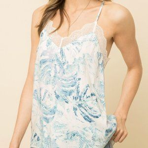 Mystree Lace Inset Printed Cami Tank Top Blue S